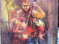 \'\'Kontrabasista\'\' obraz olejny namalowany na płótnie ,format 100x100 cm,autor Tadeusz Małecki