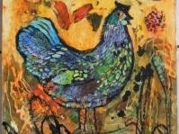 \'\'Kura\'\' olej,akryl płótno,34x33 cm autor Jola Kempa-Małecka