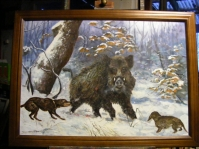 Obraz olejny na płótnie ,w ramie ,format 120x80 cm .Obraz w kolekcji prywatnej
