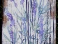 \'Lawenda \'\' ,obraz namalowany na starej desce,format 50x11 cm ,autor Jola Kempa-Małecka