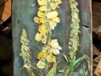 ''Dziewanna'' obraz olejny na starej grubej desce,format 104x29 cm,autor Tadeusz Małecki,obraz w kolekcji prywatnej