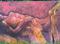 Akt 10 . olej,akryl,płótno ,format 75 x 150 cm ,autor Tadeusz Małecki