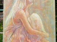 Akt 2 obraz namalowany na płótnie ,technika akryl i olej ,autor Tadeusz Małecki,format 100x70 cm