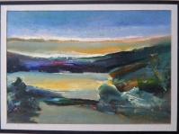 21.Obraz olejny na kartonie w paspartu,20x30 cm