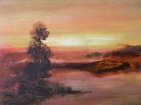 16.Pejzaż  ,olej,płótno, 40x30 cm ,autor Tadeusz Małecki