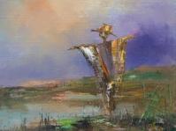 25.Strach ,obraz olejny na płótnie ,35x30 cm