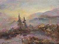 26. Pejzaż ,olej,płótno,autor Tadeusz Małecki,format  26x21 cm