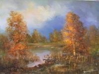5. Pejzaż ,olej,płótno,autor Tadeusz Małecki,format 40x30 cm,
