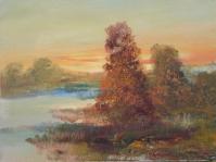 4. Pejzaż ,olej,płótno,autor Tadeusz Małecki,format 40x30 cm
