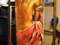 Akt ,deska ,obraz olejny ,125x35 cm ,autor Tadeusz Malecki,w kolekcji prywatnej