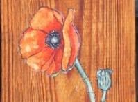 \'\'Mak\'\'obraz olejny na desce w kolekcji prywatnej,60x20cm