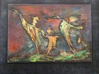 10.0braz abstrakcyjny na płycie ,60x50 cm