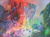 Abstrakcja 3 ,130x82cm,olej ,rama,płótno,autor Tadeusz Malecki ,obraz w kolekcji prywatnej