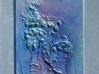 Abstrakcja 14 ,45x75 cm,technika własna ,olej, autor Ted Małecki,
