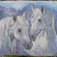 Konie ,100x70 cm,autor Tadeusz Małeck