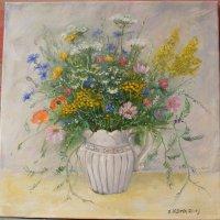 Kwiaty polne,olej,płótno,50x50 cm, ,autor Jola Kempa-Małecka