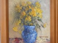 15. ''Słoneczniczki w niebieskim wazoniku'' 24x30 cm , olej ,płótno ,autor Jola Kempa-Małecka