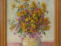 9.''Bukiet'' obraz olejny,płótno,format 30x37 cm,autor J.Kempa-Małecka