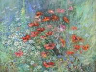 ''Ogród'',obraz olejny na płótnie,format 95x85 cm, obraz w kolekcji prywatnej