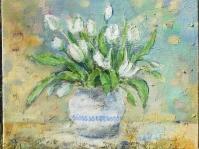 19. ''Tulipany'' 40x35 cm ,obraz olejny ,płótno ,autor Jola Kempa-Małecka