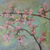 33. Kwitnąca wiśnia -tryptyk,wymiar jednego obrazu 50x50 cm,obraz olejny ,płótno,autor Jola Kempa-Małecka