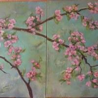 33.  fragment -Kwitnąca wiśnia -tryptyk,wymiar jednego obrazu 50x50 cm,obraz olejny ,płótno,autor Jola Kempa-Małecka