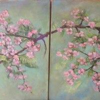 33. fragment-Kwitnąca wiśnia -tryptyk,wymiar jednego obrazu 50x50 cm,obraz olejny ,płótno,autor Jola Kempa-Małecka