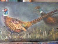 ''Bażanty'',60x30 cm ,olej,stara deska