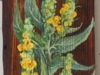 Dziewanna na desce ,format 80x20 cm ,olej,autor Jola Kempa-Małecka