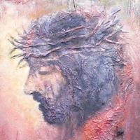 ''Chrystus'' , 81x33 cm ,deska,olej,autor Tadeusz Małecki,obraz w kolekcji prywatnej