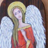 Anioł ,35x19,olej,deska