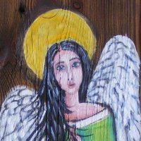 Anioł ,36x14 cm,olej ,deska
