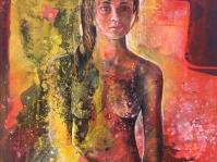 Akt 4,Obraz olejny +akryl namalowany na płótnie ,autor Tadeusz Małecki.Format obrazu 75x74 cm,cena do uzgodnienia