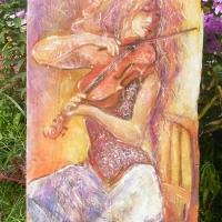 akt na malowany na strarej desce ,autor Tadeusz Małecki