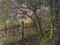3.Obraz olejny na płótnie ,format 100x100 ,autor Tadeusz Małecki , \'\'Pejzaż z płotem \'\' ,obraz w kolekcji prywatnej