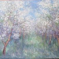 ;;Kwitnący sad''55x90 cm,akryl ,olej ,płotno ,autor Tadeusz Małecki