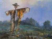 24.\'\'Strach\'\' ,obraz olejny na płótnie 35x30 cm