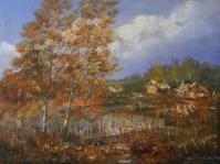 11.Pejzaż  ,olej,płótno, 42x32 cm ,autor Tadeusz Małecki