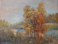 15.Pejzaż  ,olej,płótno,format 38x30 cm,autor Tadeusz Małecki