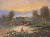 28.Pejzaż ,olej,płótno,autor Tadeusz Małecki,format 30x 24