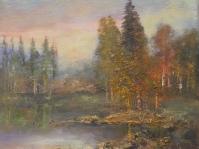 19.Pejzaż ,olej,płótno,autor Tadeusz Małecki,33x30 cm