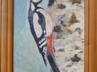 ''Dzięcioł'' 29x23 cm ,olej,płótno,autor Jolanta Kempa-Małecka
